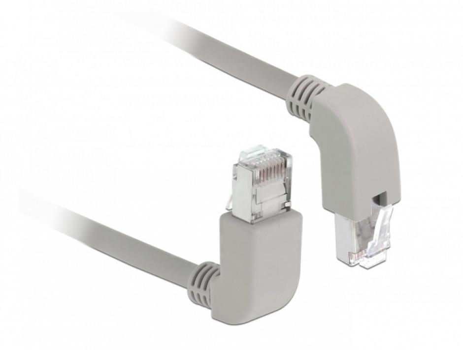 Imagine Cablu de retea RJ45 cat 6 S/FTP LSOH unghi jos/unghi sus 0.5m Gri, Delock 85861