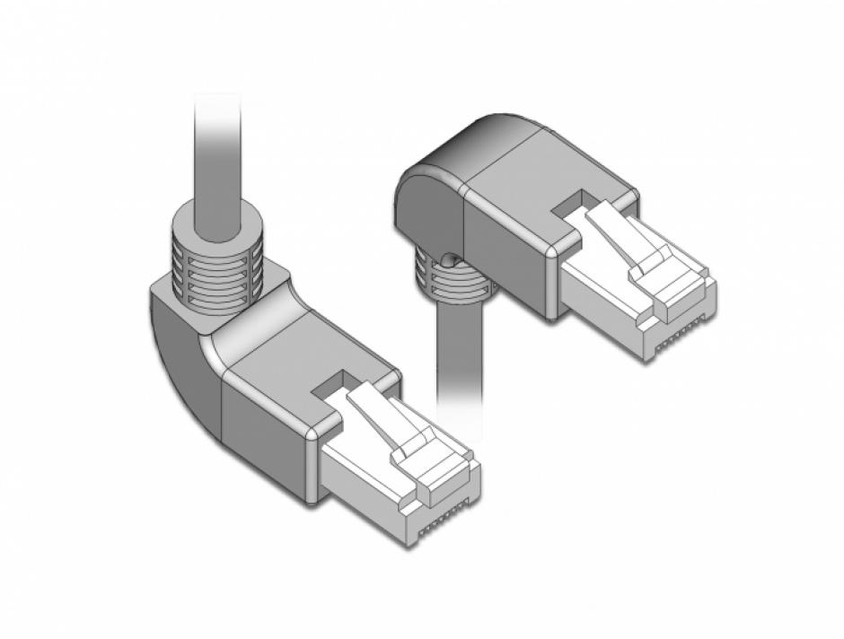 Imagine Cablu de retea RJ45 cat 6 S/FTP LSOH unghi jos/unghi sus 1m Gri, Delock 85862