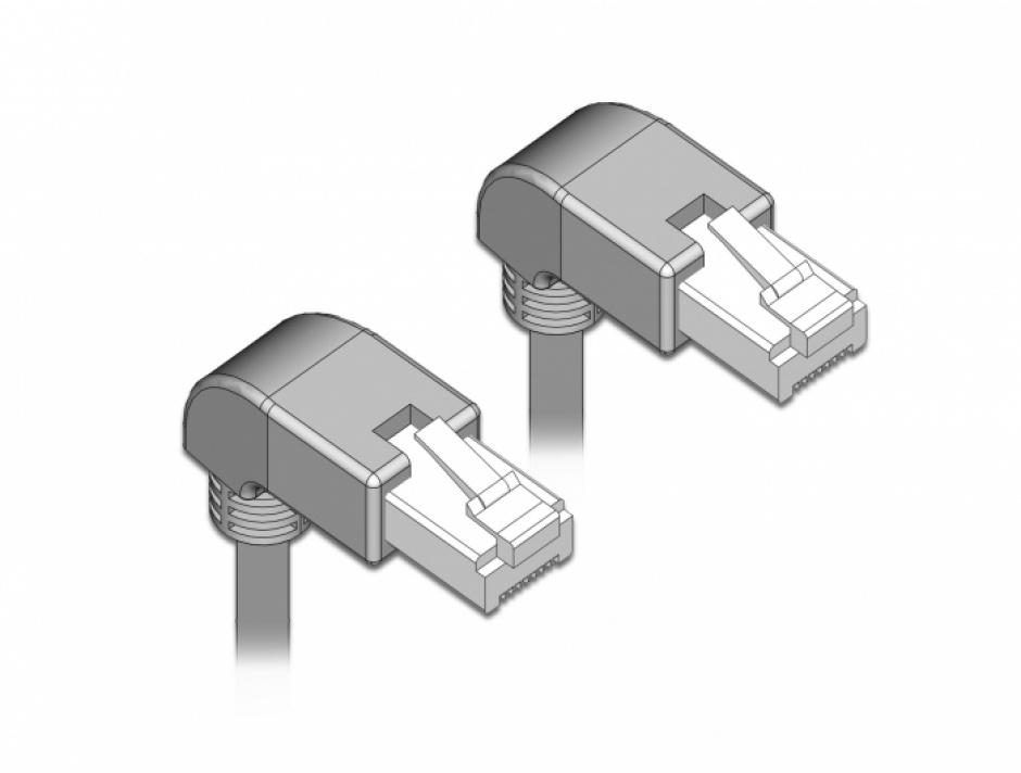 Imagine Cablu de retea RJ45 cat 6 S/FTP unghi jos 0.5m Gri, Delock 85867
