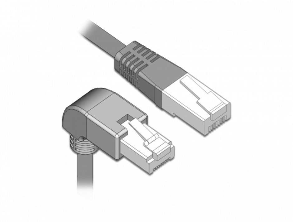 Imagine Cablu de retea RJ45 cat 6 S/FTP unghi jos/drept 2m Gri, Delock 85866