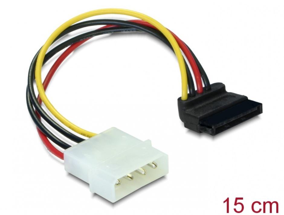 Imagine Cablu de alimentare SATA unghi 90 grade la Molex 4 pini, Delock 60101