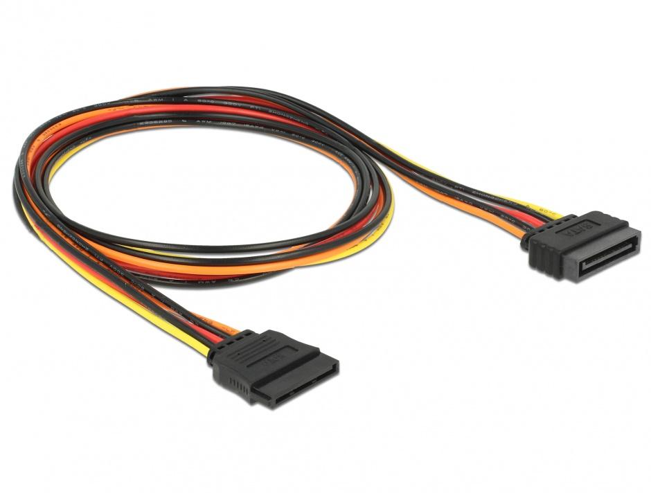 Imagine Cablu prelungitor alimentare SATA 15 pini 100cm, Delock 60133