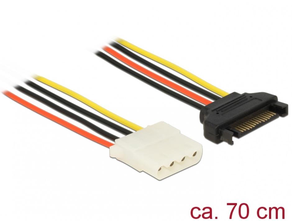 Imagine Cablu de alimentare SATA la Molex T-M 70cm, Delock 60138