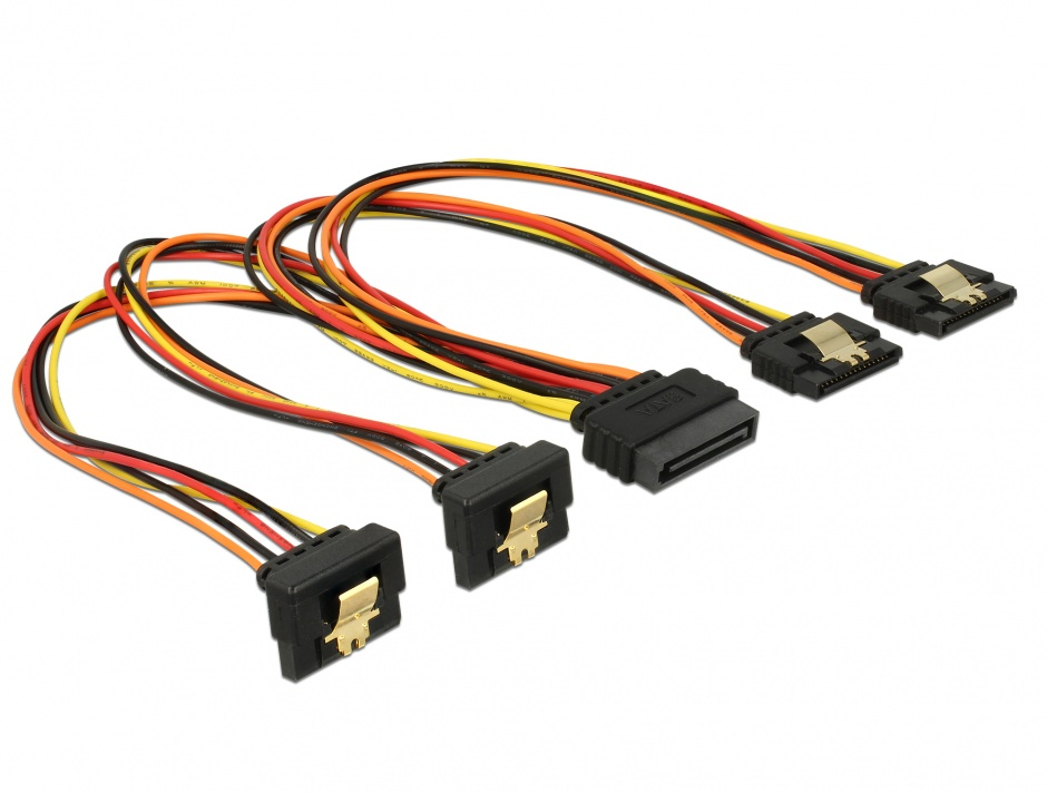 Imagine Cablu de alimentare SATA 15 pini la 2 x SATA drept + 2 x SATA unghi jos 30cm, Delock 60151