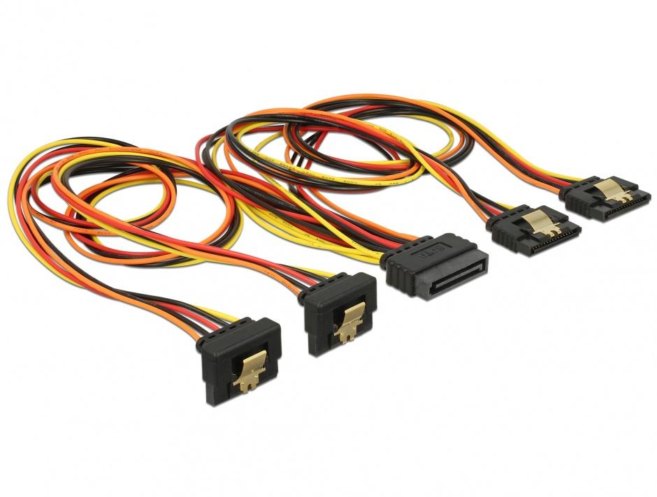 Imagine Cablu de alimentare SATA 15 pini la 2 x SATA drept + 2 x SATA unghi jos 50cm, Delock 60152