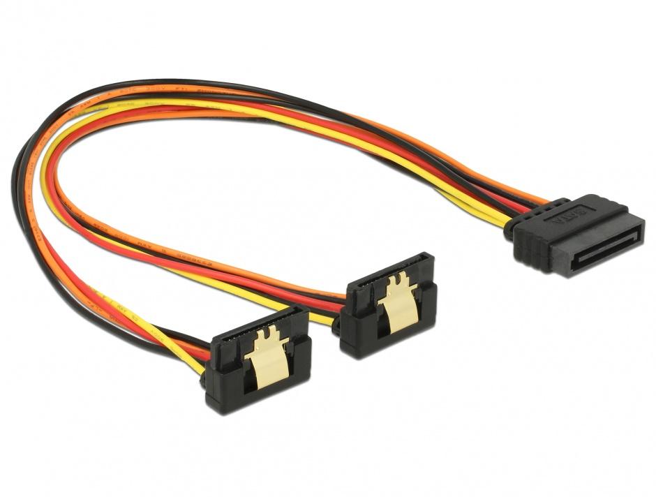 Imagine Cablu alimentare SATA 15 pini la 2 x SATA clips metalic unghi T-M 30cm, Delock 60159
