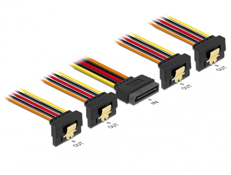 Imagine Cablu de alimentare SATA 15 pini la 4 x SATA unghi jos 30cm, Delock 60167