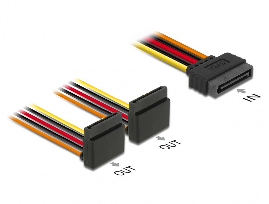 Imagine Cablu de alimentare SATA la 2 x SATA unghi sus 15cm, Delock 60170