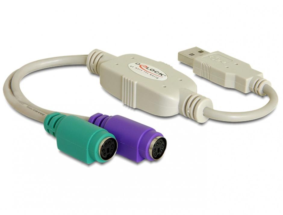 Imagine Adaptor USB la 2 X PS/2, Delock 61244