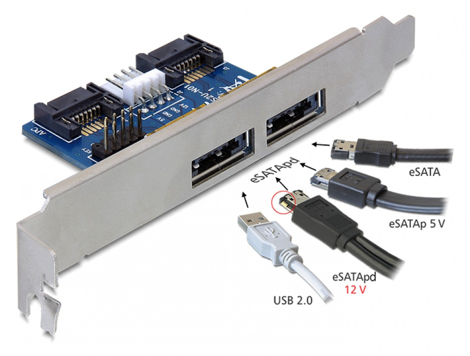 Imagine Slot bracket 2x eSATApd 5V/12V, Delock 61725