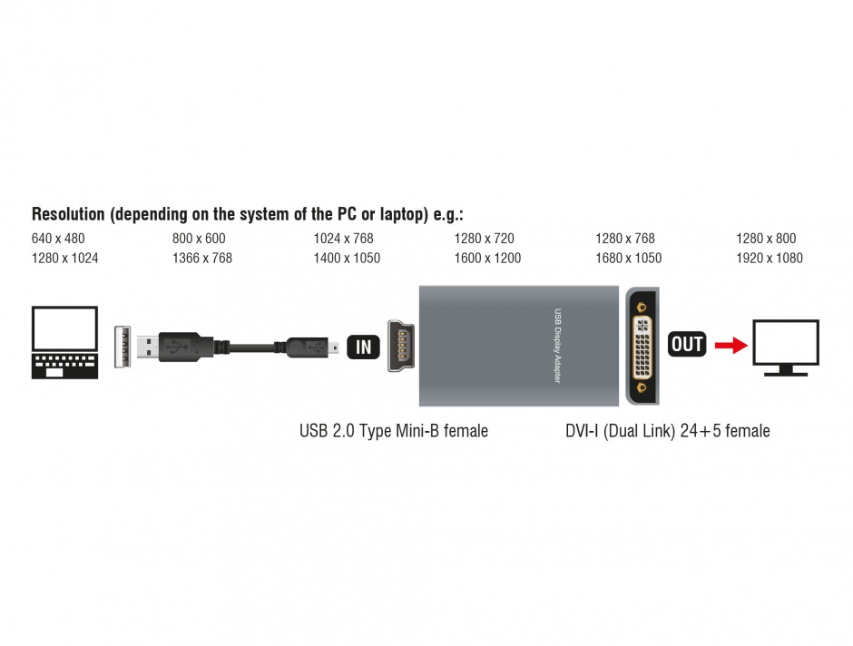 Imagine Adaptor USB 2.0 la DVI/VGA/HDMI, Delock 61787