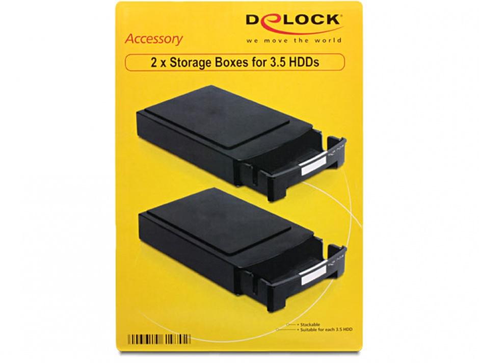 """Imagine Cutii depozitare pentru 2 x 3.5"""" HDD, Delock 61970"""