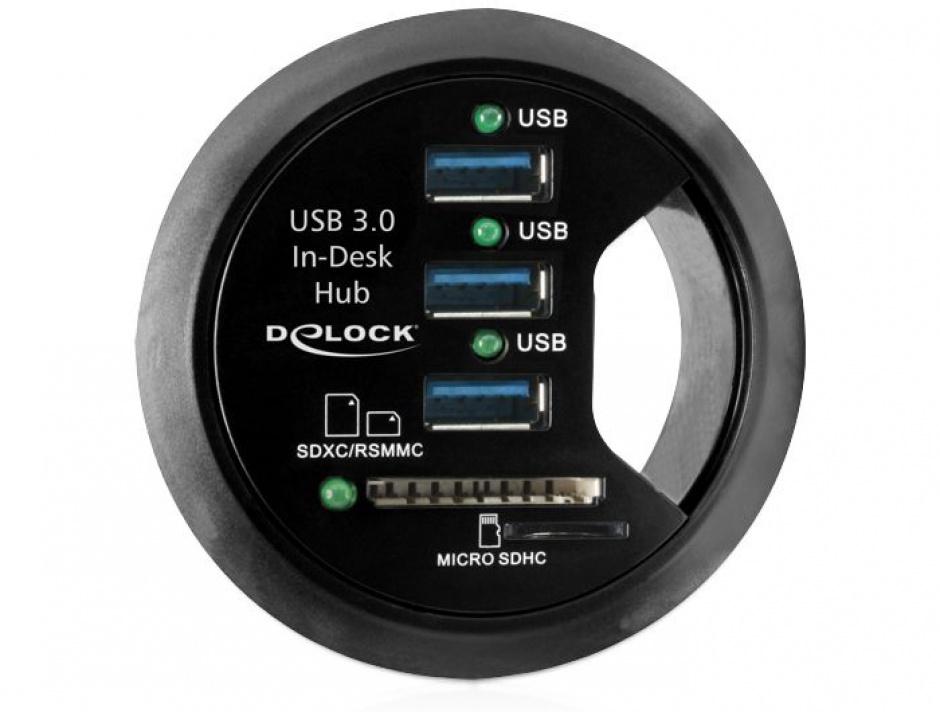 Imagine Hub 3 Porturi USB 3.0 + 2 Sloturi SD pentru birou, Delock 61991