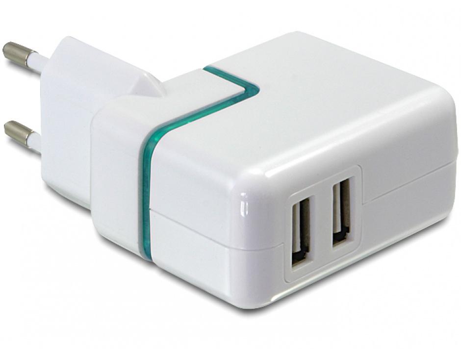 Imagine Incarcator priza cu 2 x USB 2A Alb, Navilock 62435