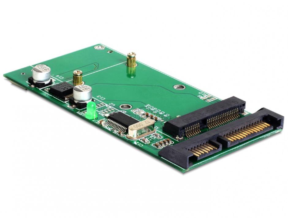 Imagine Convertor SATA 22 Pini + USB 2.0 la mSATA full size, Delock 62493