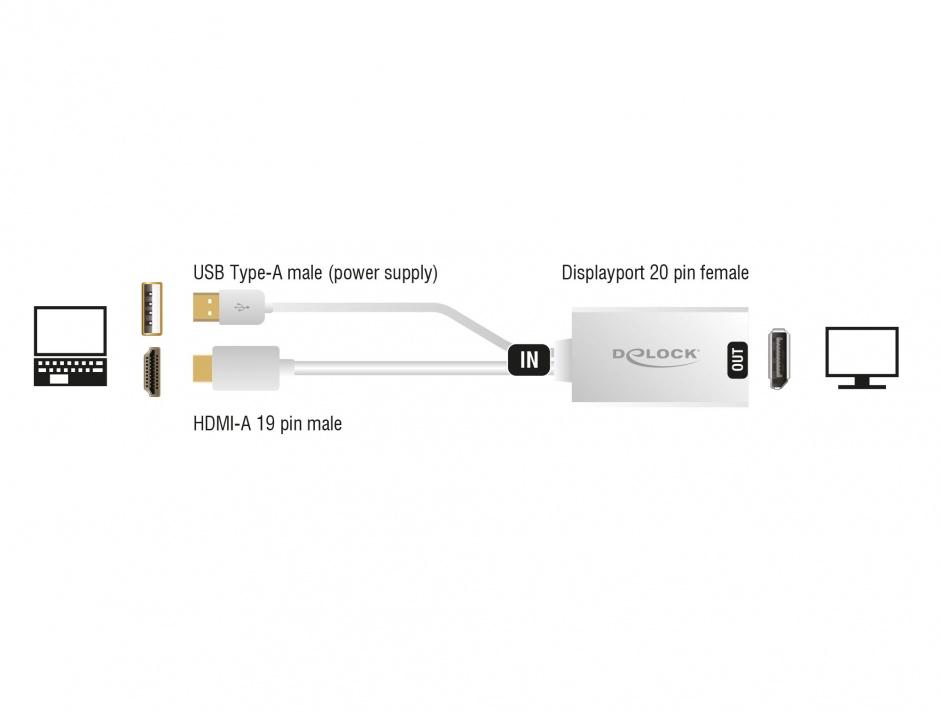 Imagine Adaptor HDMI la Displayport 1.2 4K T-M, Delock 62496