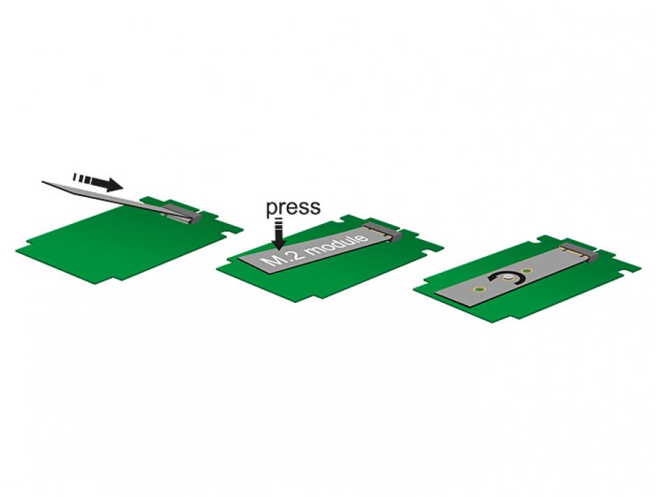 Imagine Convertor SATA 22 Pini la M.2 NGFF pana la 9mm, Delock 62552