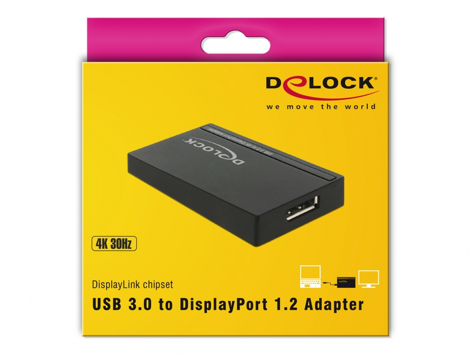 Imagine Adaptor USB 3.0 la Displayport (4K), Delock 62581