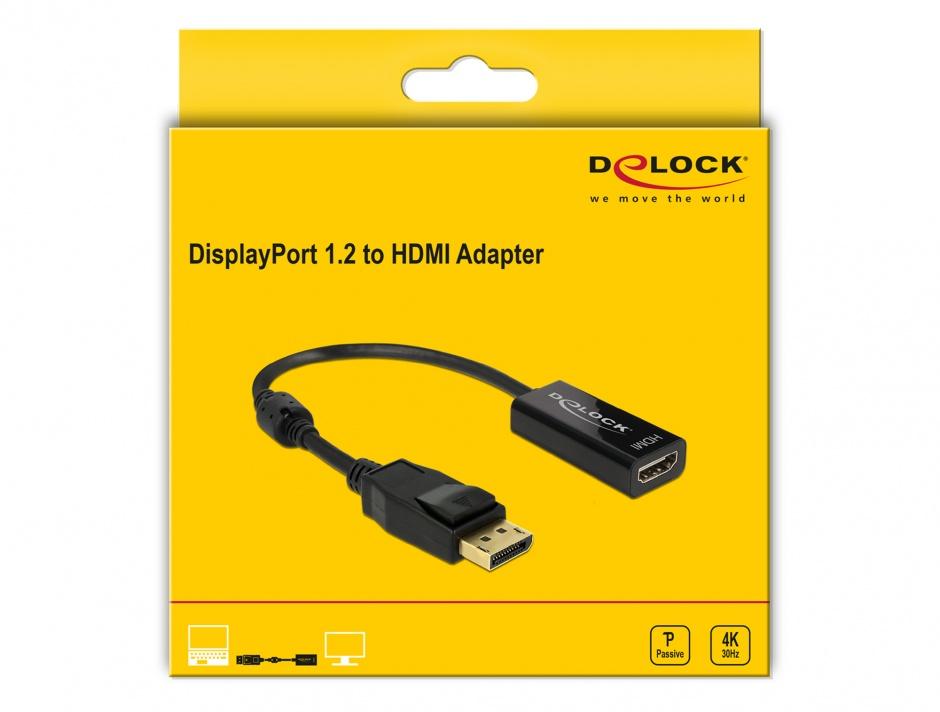 Imagine Adaptor Displayport la HDMI T-M 1.2 4K Pasiv Negru, Delock 62609