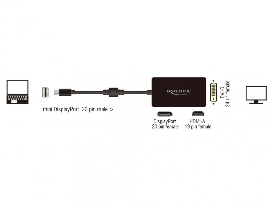 Imagine Adaptor mini Displayport la Displayport / HDMI / DVI pasiv T-M Negru, Delock 62623
