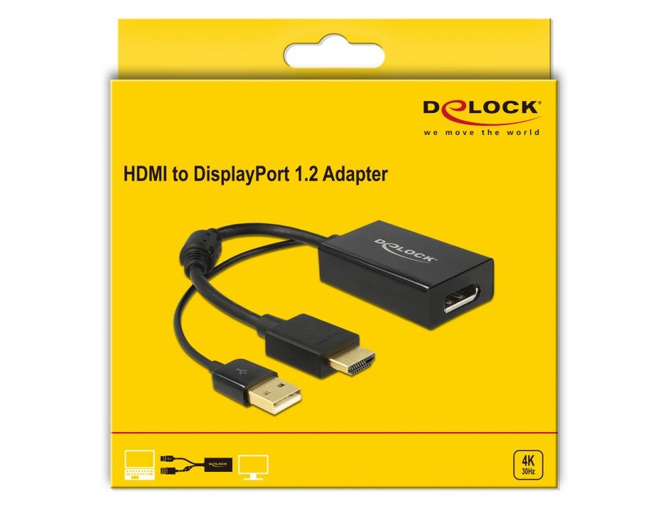 Imagine Adaptor HDMI la Displayport 1.2 4K Negru T-M, Delock 62667