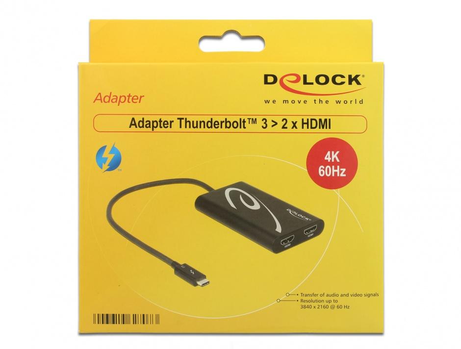 Imagine Adaptor Thunderbolt 3 la 2 x HDMI 4K 30 Hz, Delock 62707
