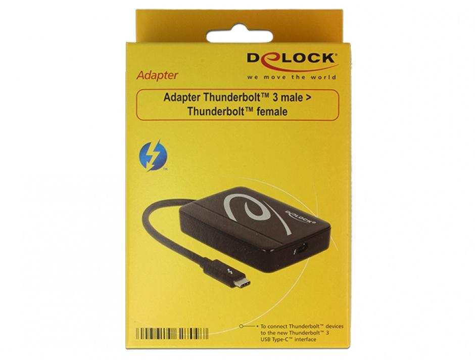 Imagine Adaptor Thunderbolt 3 (USB tip C) la Thunderbolt T-M, Delock 62709