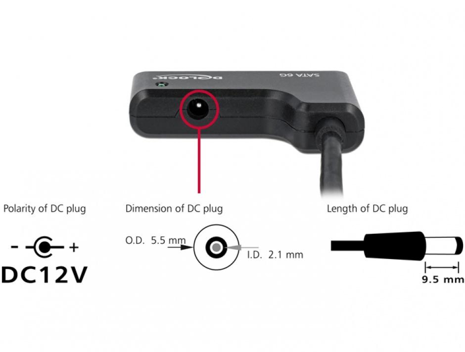 "Imagine Adaptor USB tip C la SATA III 6 Gb/s 22 pini 2.5""/3.5"" HDD, Delock 62715"