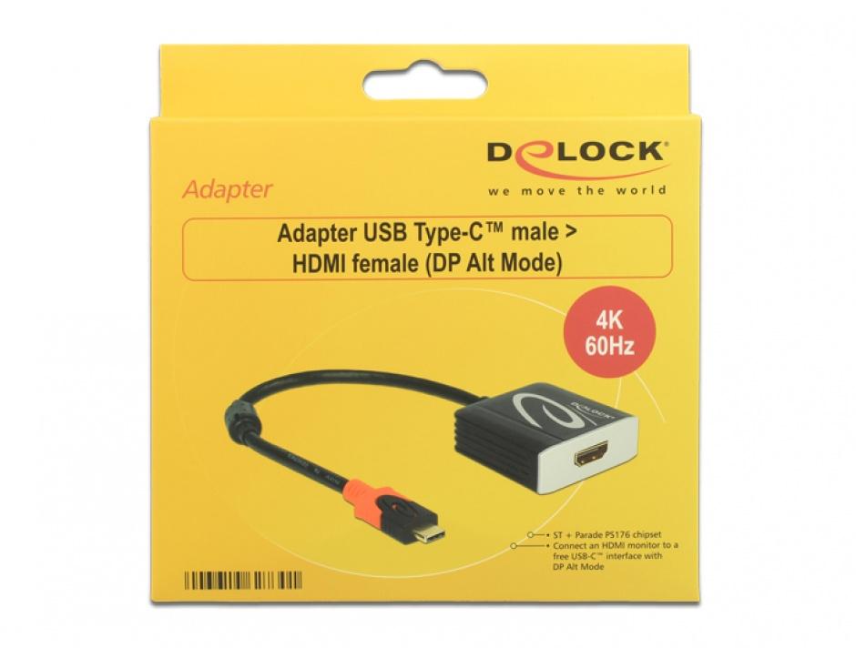 Imagine Adaptor USB tip C la HDMI T-M 4K 60 Hz (DP Alt Mode), Delock 62730