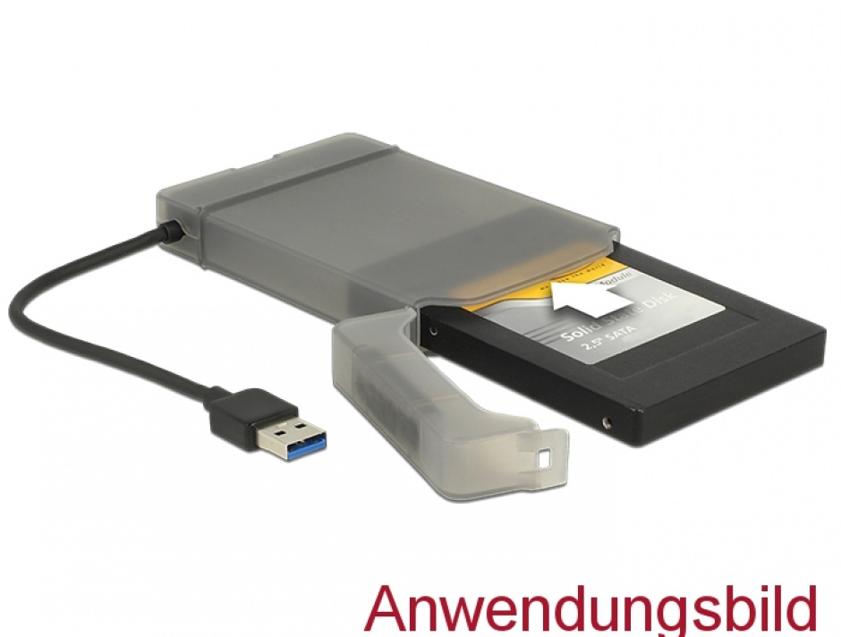 "Imagine Adaptor USB 3.0 la SATA III pentru HDD 2.5"" cu carcasa protectie 15cm, Delock 62742"