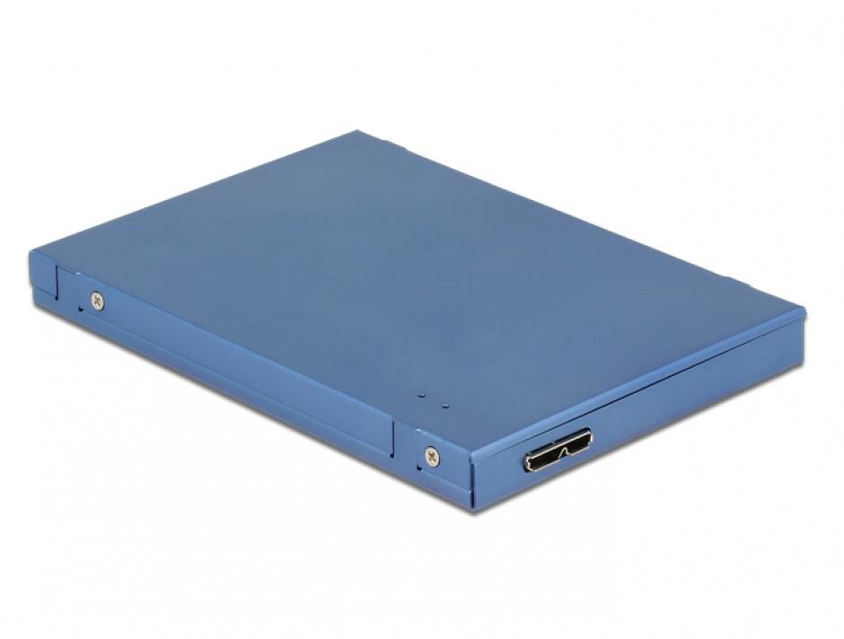 """Imagine Convertor micro-B USB 3.1 la M.2 SSD key B + mSATA cu rack extern 2.5"""" 9.5mm, Delock 62787"""