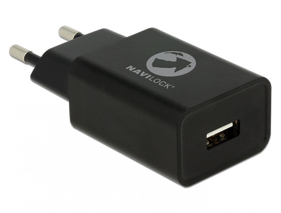 Imagine Incarcator priza 1 x USB 5V 2.4A + cablu micro USB-B Negru, Navilock 62847