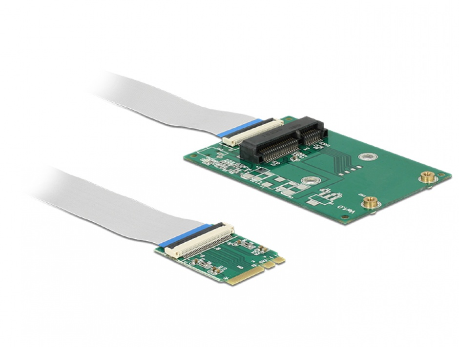Imagine Convertor M.2 Key A+E la 1 x Mini PCIe Slot half size/ full size + cablu flexibil, Delock 62848