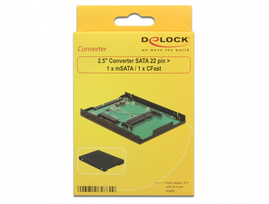 "Imagine Convertor 2.5"" SATA 22 pini la 1 x mSATA / 1 x CFast 9.5mm, Delock 62862"