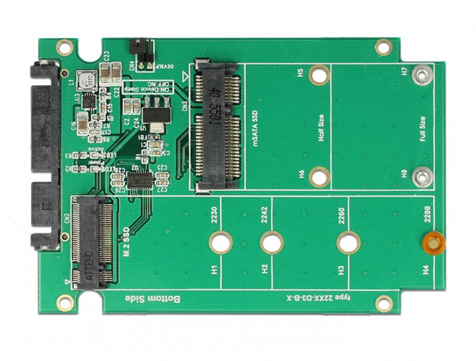 "Imagine Convertor 2.5"" SATA 22 pini la 1 x M.2 key B + 1 x mSATA 9.5mm, Delock 62866"