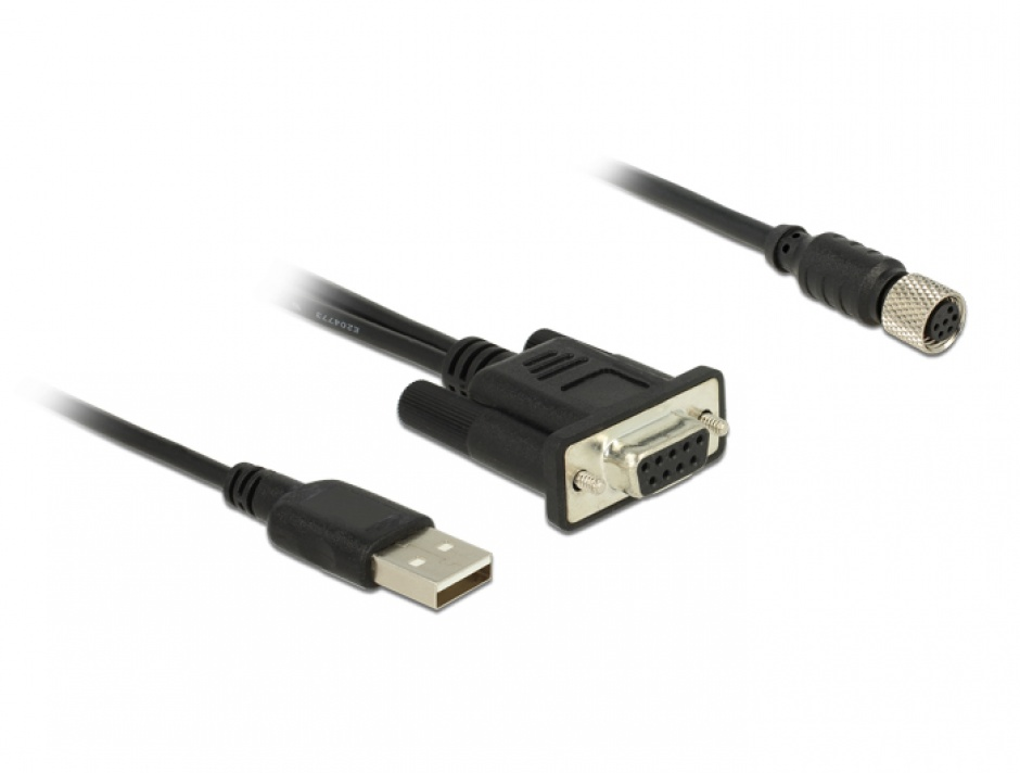 Imagine Cablu M8 waterproof la DB9 RS-232 1.2m M-M, Navilock 62875