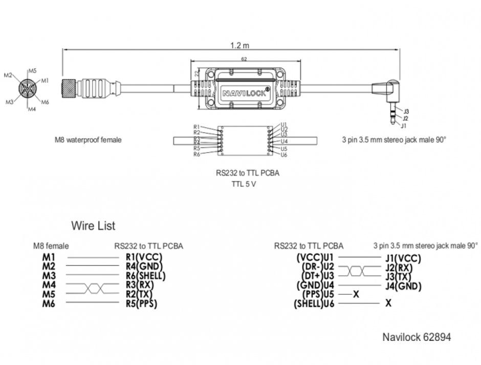 Imagine Cablu M8 waterproof la jack 3.5 mm 3 pini 90° TTL (5 V), Navilock 62894