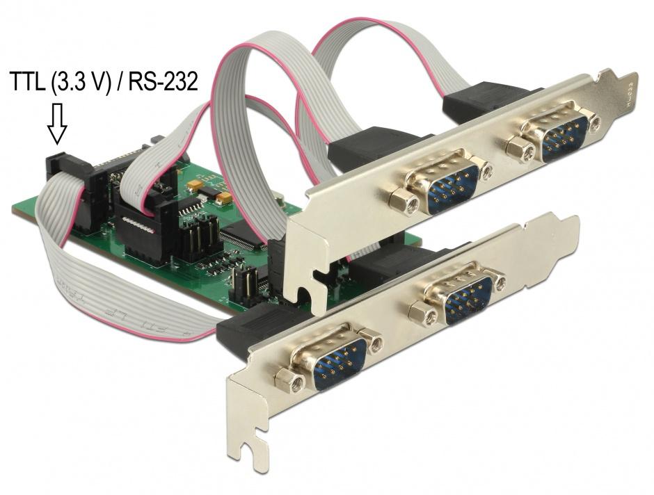 Imagine PCI Express cu 3 x Serial RS-232 + 1 x TTL 3.3 V / RS-232 cu voltage supply, Delock 62922