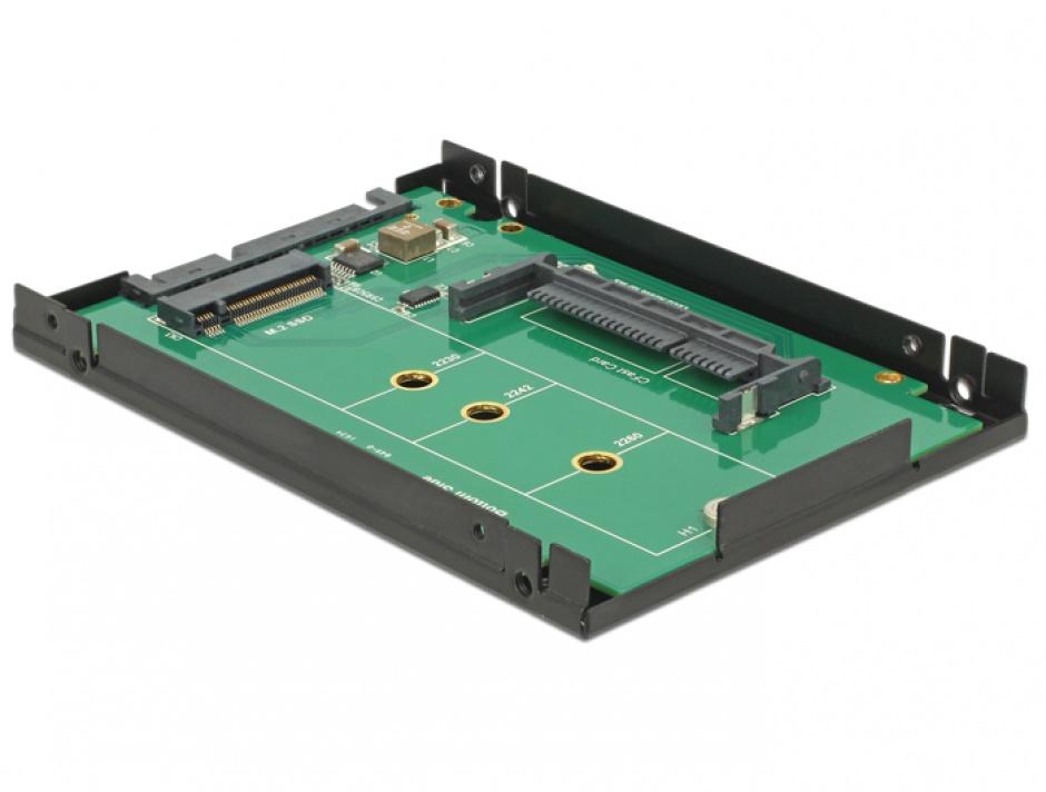 """Imagine Rack extern 2.5"""" SATA 22 pini la 1 x M.2 key B/ 1 x CFast 9.5mm, Delock 62944"""