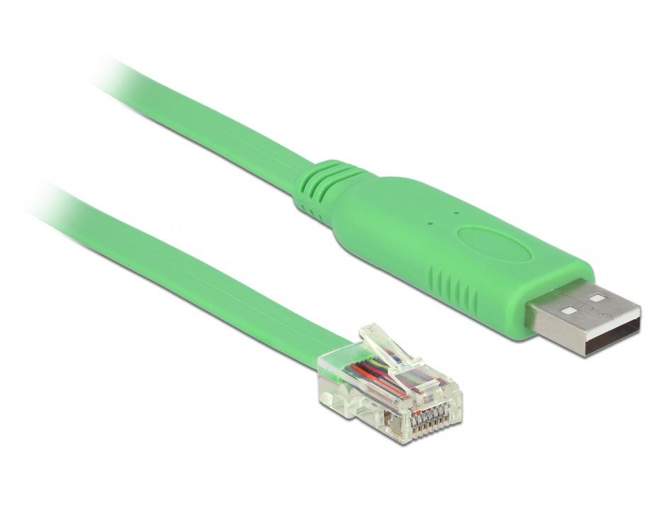 Imagine Cablu USB 2.0 tip A la 1 x Serial RS-232 RJ45 (pentru router Cisco) T-T 1.8m, Delock 62960