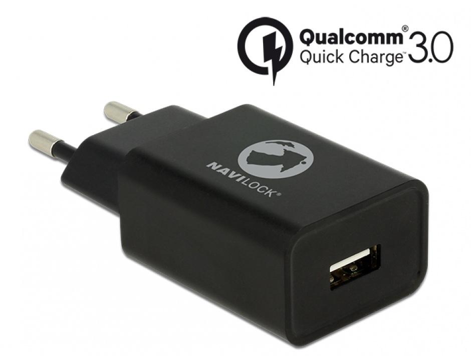 Imagine Incarcator priza cu 1 x USB Qualcomm Quick/Fast Charge 3.0 (incarcare rapida) Negru, Navilock 62968