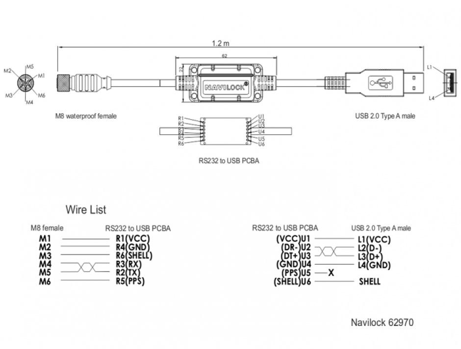 Imagine Cablu M8 waterproof la USB-A 2.0 M-T, Navilock 62970