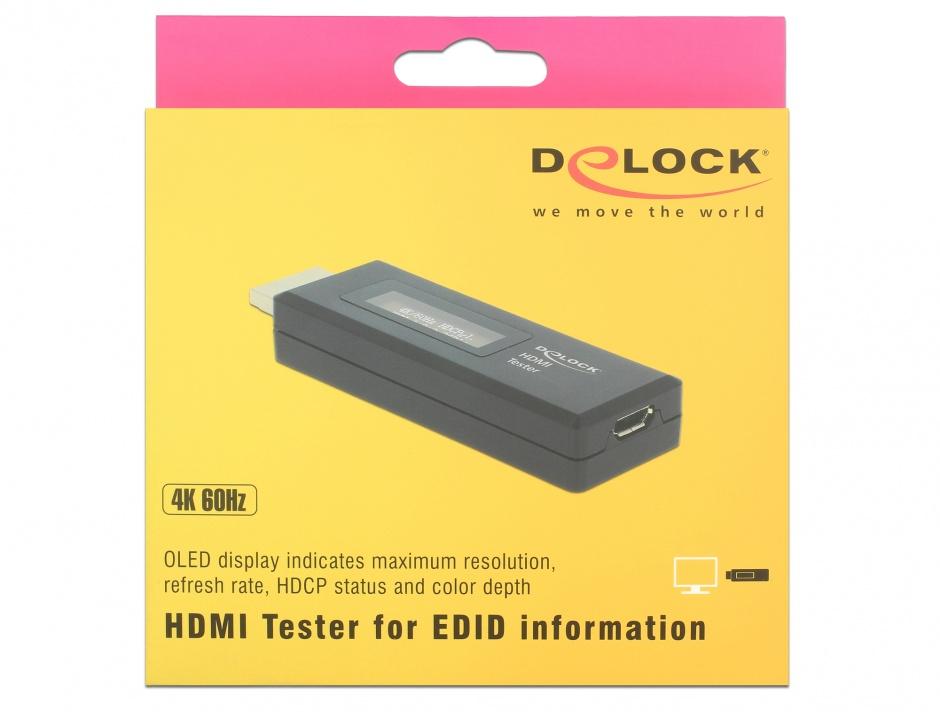 Imagine Tester HDMI pentru informatii EDID cu OLED display, Delock 63327