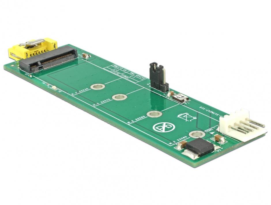 Imagine Adaptor SATA 8 pini la M.2 Key B slot, Delock 63917
