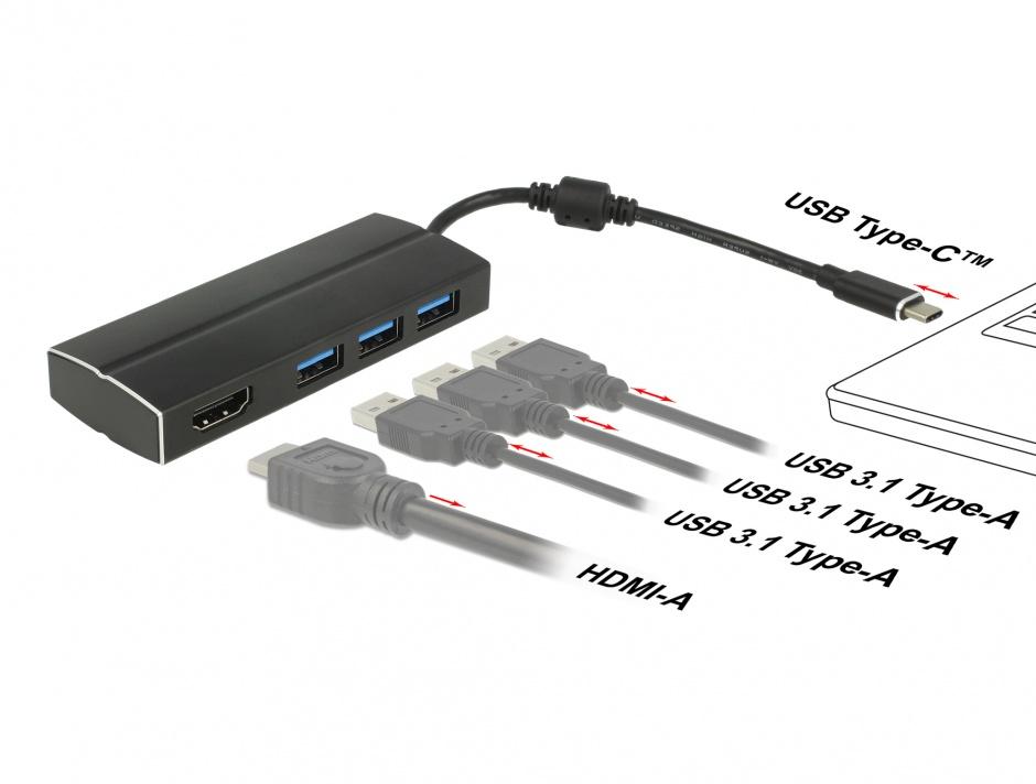 Imagine Adaptor USB-C 3.1 la HDMI-A (DP Alt Mode) 4K 30Hz + 3 x USB, Delock 63931