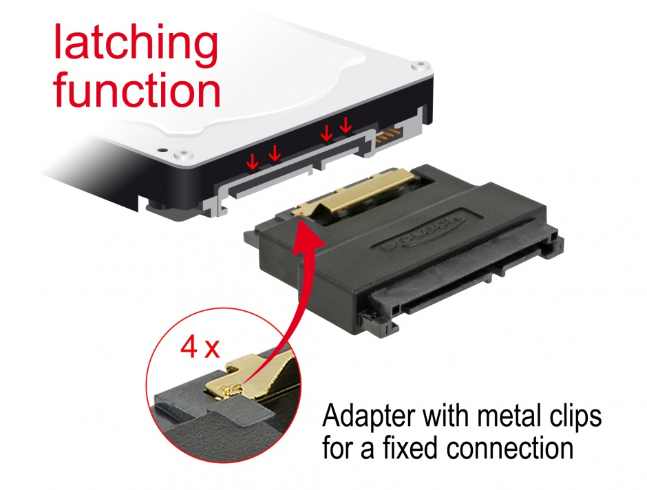 Imagine Adaptor SATA 22 pini T-M port saver, Delock 63945
