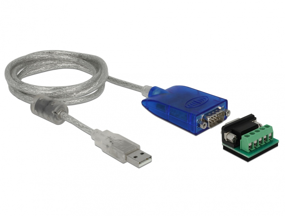 Imagine Adaptor USB 2.0 la serial RS-422/485 DB9 surge protection 600 W extended temperature range, Delock 6