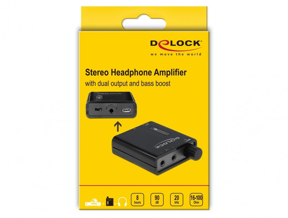 Imagine Amplificator audio portabil cu 2 iesiri si bass boost, Delock 64056