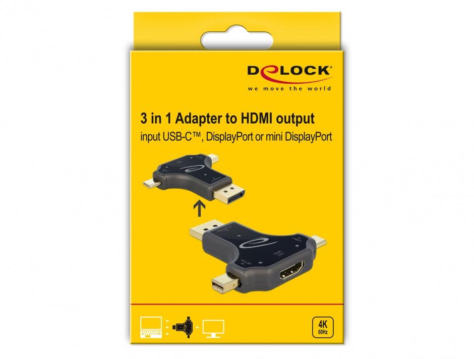 Imagine Adaptor 3 in 1 USB-C/ DisplayPort / mini DisplayPort la HDMI 4K@60Hz T-M Negru, Delock 64060