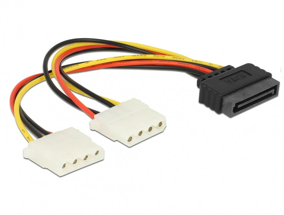 Imagine Cablu alimentare SATA la 2 x Molex T-M, Delock 65159